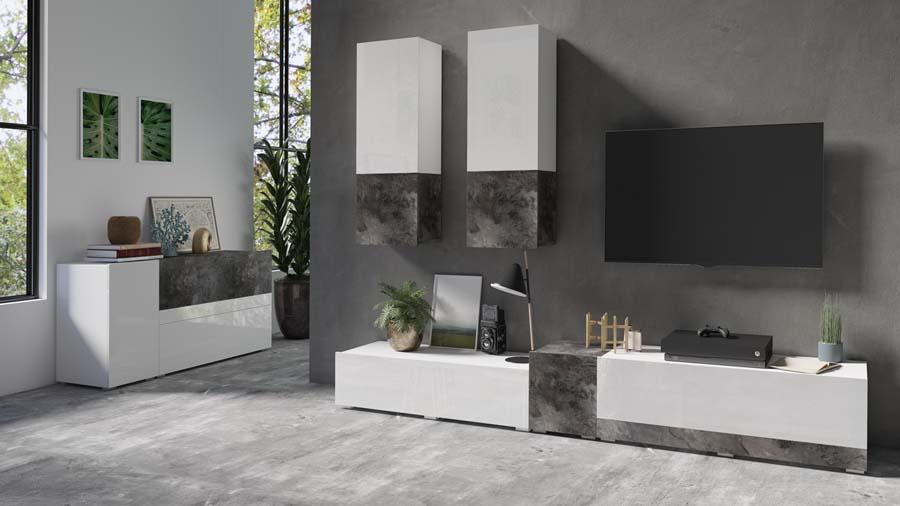 POWER I 24BBJE Meble pokojowe biały połysk + beton ciemny