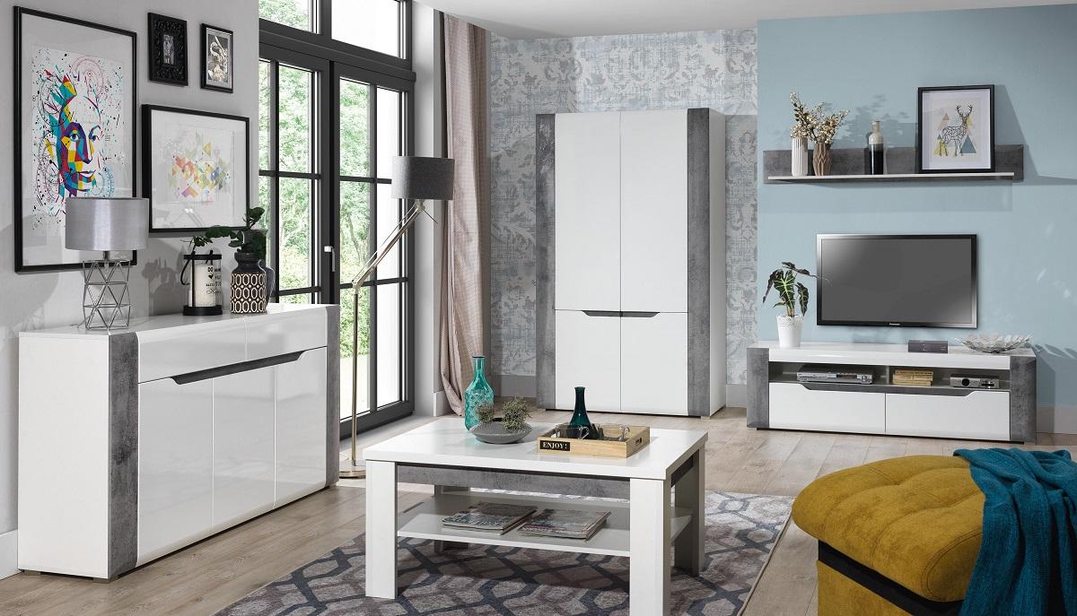 BRANDO meble pokojowe biały/beton