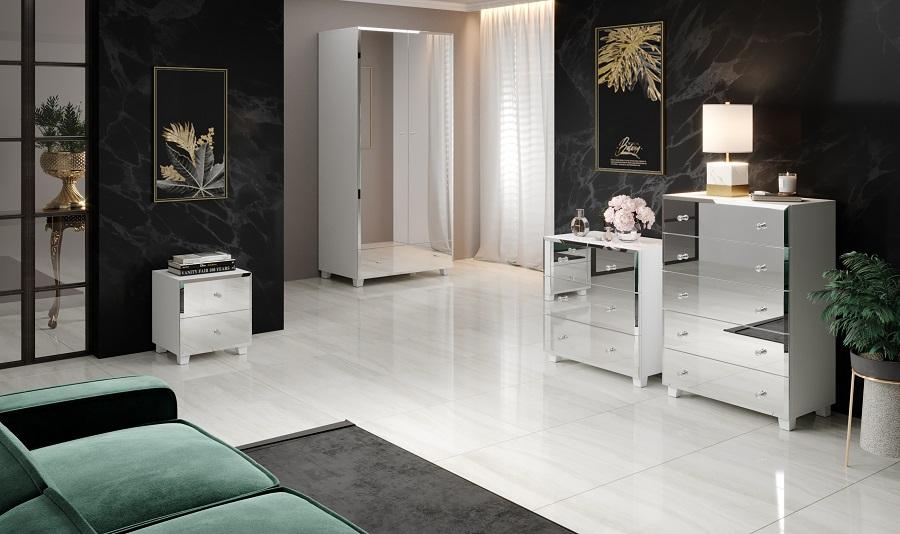 BELLAGIO GB I 2497JG białe lustrzane meble do sypialni