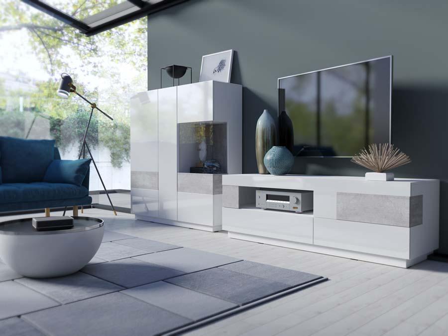SILKE 2484GY Meble pokojowe Biały połysk + beton colorado