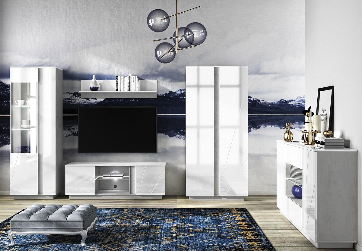 LUMENS Białe meble do salonu z betonową wstawką