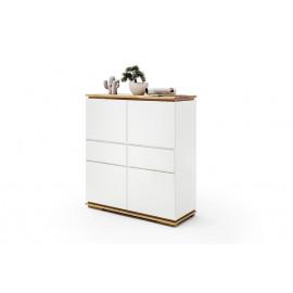 Chiara komoda wysoka lakier biały / drewno olej