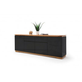 Chiara komoda długa czarny połysk lakier / drewno olejowane