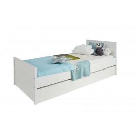 OLE białe łóżko matowe z dodatkowym łóżkiem wysuwanym 90 x 200