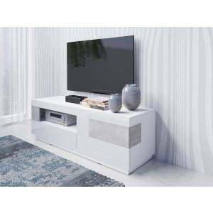 SILKE 2484GY41 Komoda RTV z 2 szufladami i klapą biały połysk + beton colorado