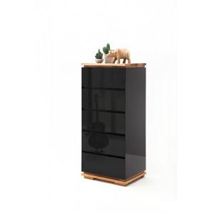 CHIARA komoda czarny lakier / drewno olejowane 5 szuflad