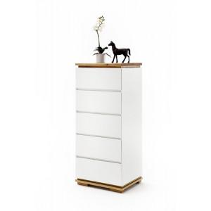 CHIARA komoda biały lakier / drewno olejowane 5 szuflad
