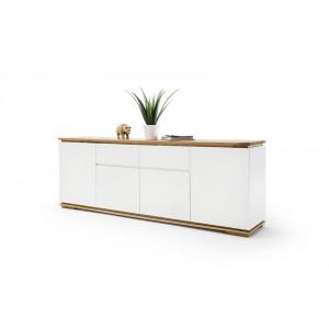 Chiara komoda długa biały lakier / drewno olejowane