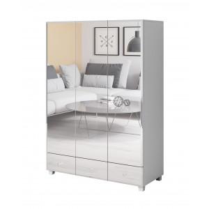 BELLAGIO GB I 2497JG19 Szafa 3 drzwiowa z 3 szufladami lustra biała