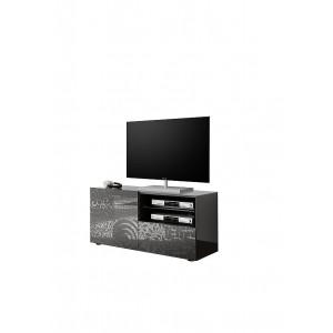 MIRO stolik telewizyjny lakier antracyt połysk z nadrukiem ozdobnym 202383-01
