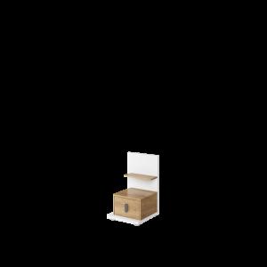MASSI MS-08L - stolik nocny 1s lewy - biały/hikora naturalna