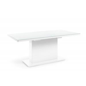 QUARTZ 2497GP81 Stół kolumnowy z białym szklanym blatem