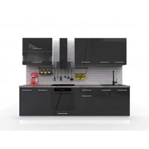 Kuchnia Vella - zestaw szafek kuchennych 2,8m - połysk czarny