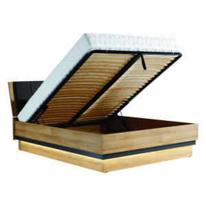 YORK Y18 / 160 SP  łóżko - tapicerowany zagłówek z pojemnikiem - dąb grandson - meble Bog-Fran