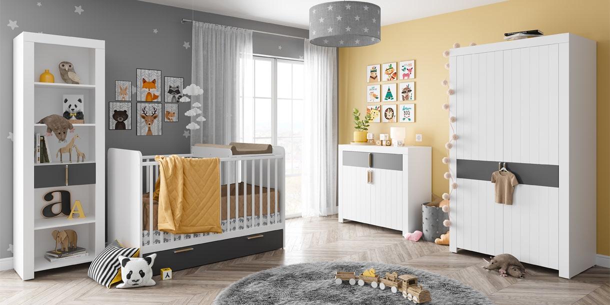 Białe meble Picolo do pokoju niemowlaka