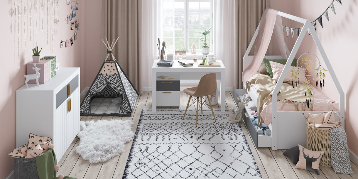 Pokój zabaw - Picolo - białe meble
